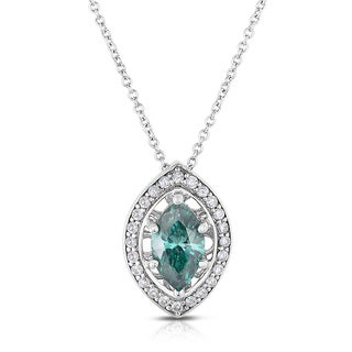 Eloquence 14k White Gold 1 1/4ct TDW Blue and White Diamond Pendant Necklace