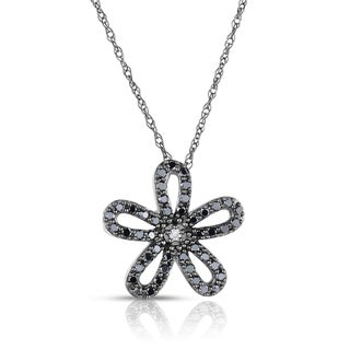 Eloquence Black Rhodium-plated 14k Gold 2/5ct TDW Diamond Flower Pendant (H-I, I1-I2)