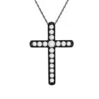Eloquence 14k Black Gold 1/2ct TDW Diamond Cross Pendant (H-I, I1-I2)
