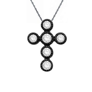 Eloquence 14k Black Rhodium-plated 1/4ct TDW Diamond Cross Pendant (H-I, I1-I2)