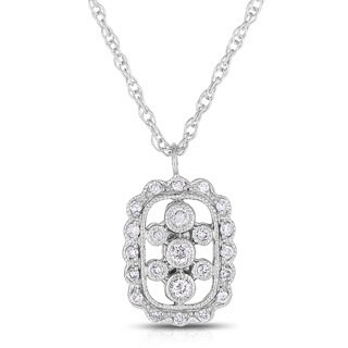 Eloquence 14k White Gold Gold 1/5ct TDW Diamond Pendant (H-I, I1-I2)