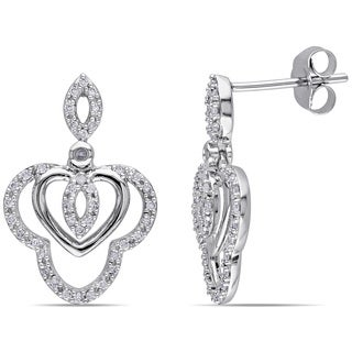 Miadora 10k White Gold 1/4ct TDW Diamond Dangle Earrings