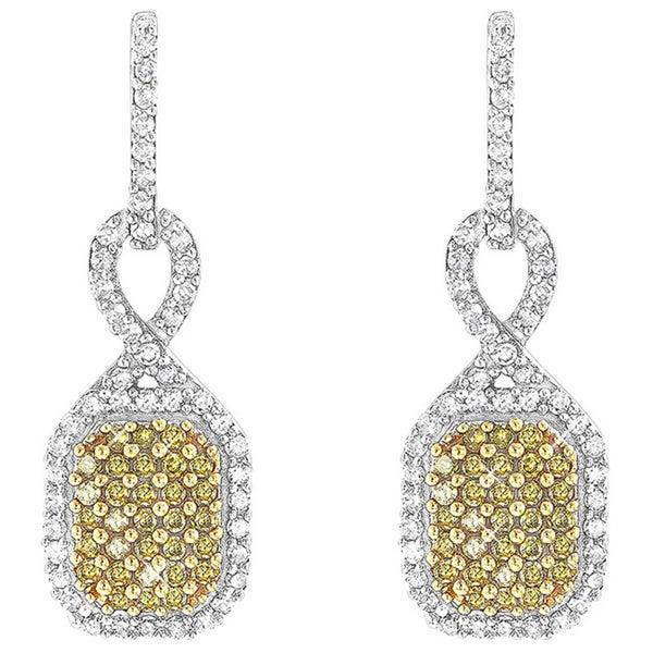 Luxurman 14k Gold 1 2ct Tdw Yellow Diamond Pave Dangle Earrings