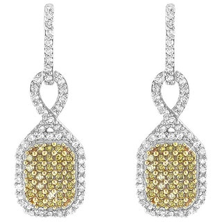 Luxurman 14k Gold 1/2ct TDW Yellow Diamond Pave Dangle Earrings (H-I, I1-I2)
