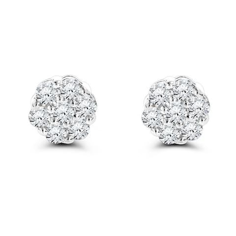 Luxurman 14k Gold 1ct TDW Round-cut Prong-set Diamond Earrings - White G-H