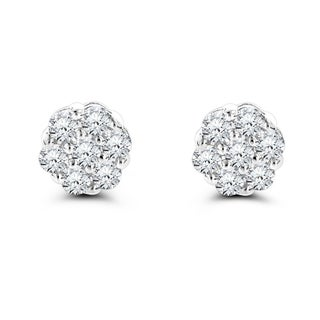 Luxurman 14k Gold 1ct TDW Round-cut Prong-set Diamond Earrings - White G-H (3 options available)