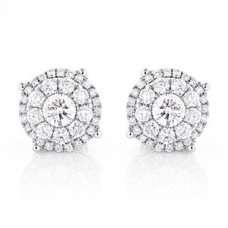Luxurman 14k Gold 2ct TDW Round-cut Diamond Stud Earrings (H-I, SI1-SI2)