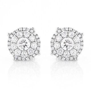 Luxurman 14k Gold 2ct TDW Round-cut Diamond Stud Earrings
