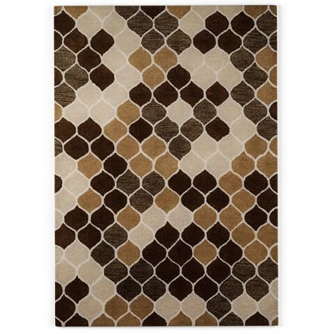 Carson Carrington Koge Hand-tufted Neutral/ Brown Wool Area Rug - 3'6 x 5'6