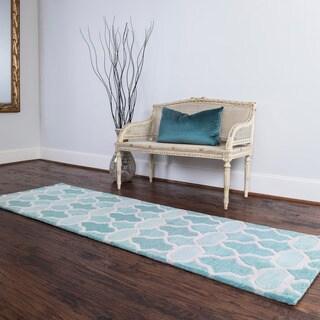 Hand-tufted Tatum Aqua Wool Runner Rug - 2'3 x 7'9