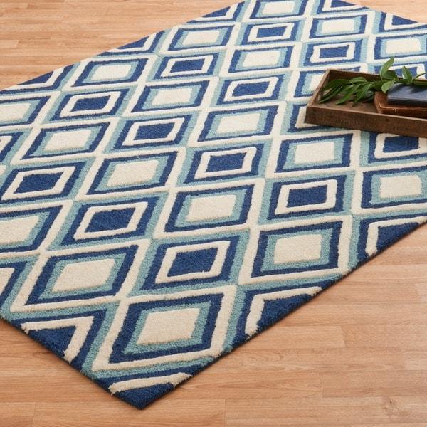 "Hand-tufted Blue/ Ivory Diamond Wool Area Rug - 5' x 7'6"""