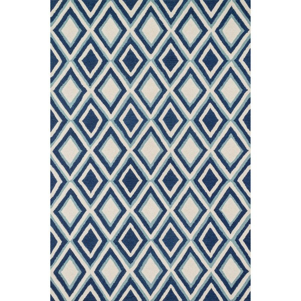 Hand-tufted Tatum Ivory/ Blue Diamond Wool Rug (2'3 x 3'9)