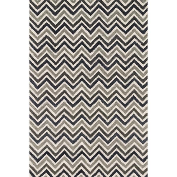 "Hand-tufted Tatum Ivory/ Grey Chevron Wool Rug (5'0 x 7'6) - 5' x 7'6"""