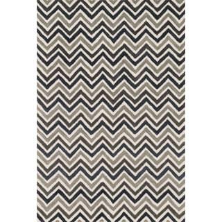 Hand-tufted Tatum Ivory/ Grey Chevron Wool Rug (2'3 x 3'9)