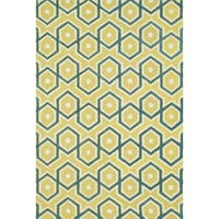 Hand-tufted Tatum Lemon/ Aqua Wool Rug (2'3 x 3'9)