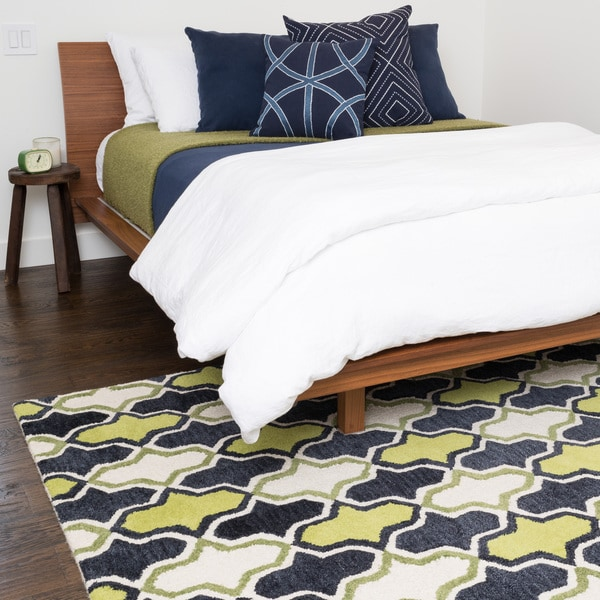 Shop Hand Tufted Tatum Lime Charcoal Wool Rug 7 9 X 9 9