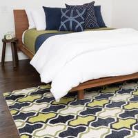 Hand-tufted Tatum Lime/ Charcoal Wool Rug (7'9 x 9'9)