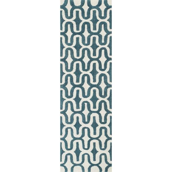 Hand-tufted Tatum Ivory/ Teal Wool Runner Rug (2'3 X 7'9