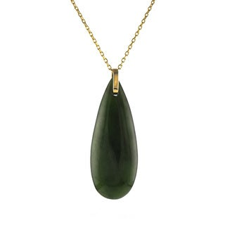 14k Yellow Gold Natural Canadian Jade Pendant Necklace