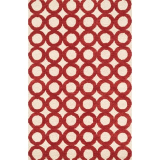 Hand-tufted Tatum Ivory/ Red Wool Rug (3'6 x 5'6)