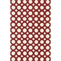 Hand-tufted Tatum Ivory/ Red Wool Rug (5'0 x 7'6)