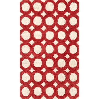 Hand-tufted Tatum Ivory/ Red Wool Rug (2'3 x 3'9)