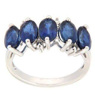 Pearlz Ocean Sterling Silver Blue Kyanite 5-stone Ring