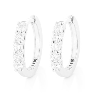 Luxurman 14K Gold 1/3 ct. Diamond Earrings Hoops 0.33ct