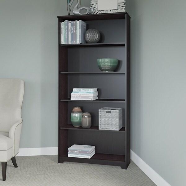 Bush Furniture Cabot 5 Shelf Bookcase In Harvest Cherry