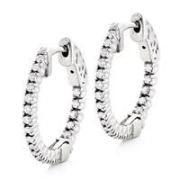 Luxurman 14k Gold 1/2ct TDW Round-cut Diamond Hoop Earrings