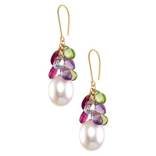 14k Yellow Gold Multi-gemstone Briolette Pearl Drop Earrings (10 mm)