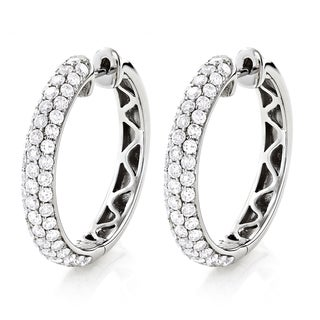 Luxurman 14k White Gold 2 3/4ct TDW Pave Diamond Hoop Earrings (H-I, SI1-SI2)