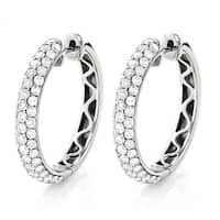 Luxurman 14k White Gold 2 3/4ct TDW Pave Diamond Hoop Earrings