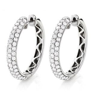 Luxurman 14k White Gold 2 3/4ct TDW Pave Diamond Hoop Earrings