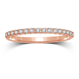 Unending Love 10k Rose Gold Stackable 1/6 ct TDW Round-cut Machine Set Prong Band (More options available)