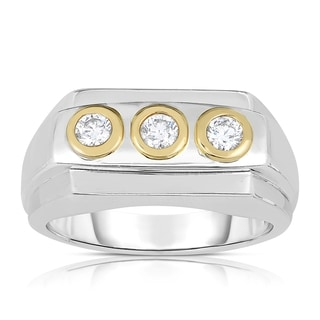 Eloquence 14k Two-tone Gold Men's 1/2ct TDW 3-stone Diamond Band (H-I, SI1-SI2)