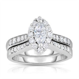 Eloquence 14k White Gold 1ct TDW Marquise-cut Halo Bridal Set