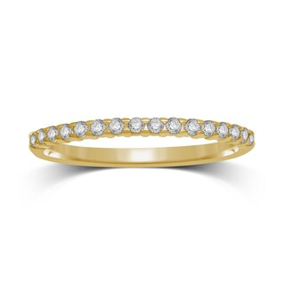 Unending Love 10k Yellow Gold 1/6ct TDW Stackable Machine Set Diamond Prong Set Band (More options available)