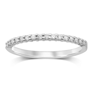 Unending Love 10k White Gold 1/6ct TDW Stackable Machine Set Diamond Prong Set Band (HI, I2-I3)