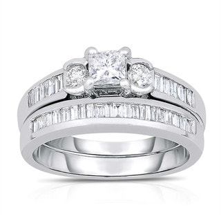 Eloquence 14k White Gold 1 1/4ct TDW 3-stone Princess-cut Bridal Set (H-I, I1-I2)