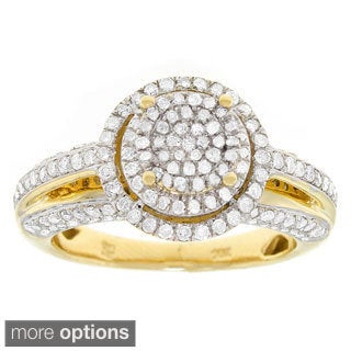 10k Yellow Gold 1ct TDW Diamond Halo Engagement Ring