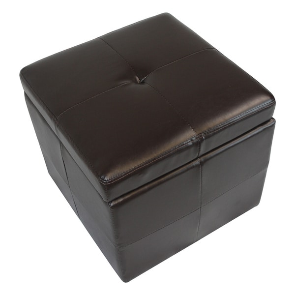 Modern Faux Leather Storage Cube Ottoman