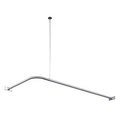 Chrome Corner Shower Rod - Silver