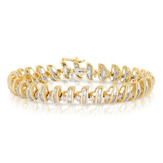 Eloquence 14k Yellow Gold 3ct TWD Baguette Diamond Bracelet (I-J, I1-I2)