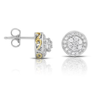 Eloquence 14k Two-tone Gold 1/2ct TDW Diamond Stud Earrings (H-I, I1-I2)