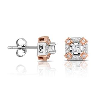 Eloquence 14k Two-tone 1/2ct TDW Diamond Stud Earrings (H-I, I1-I2)