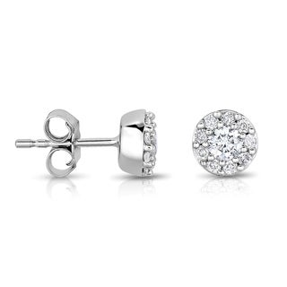 Eloquence 14k White Gold 1/2ct TDW Diamond Cluster Studs