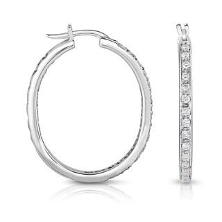Eloquence 14k White Gold 1/2ct TDW Diamond Oval Hoop Earrings (H-I, I1-I2)