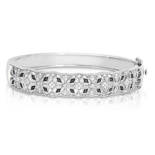 Eloquence Sterling Silver 1/2ct TWD Black Diamond Bangle Bracelet