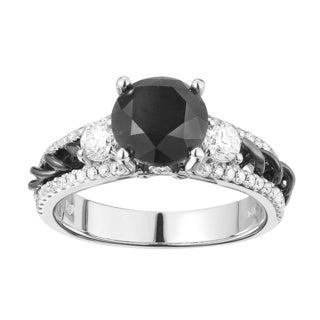 14k White Gold 2 4/5ct TDW Black and White Diamond Engagement Ring